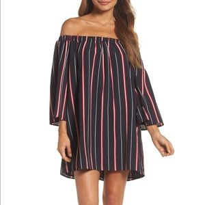 French Connection Dresses - French Connection Hasen Striped Off Shoulder Dress